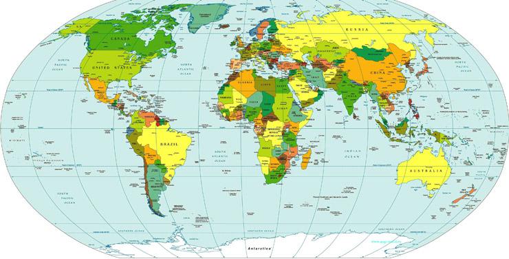 Страны мира на политической карте more