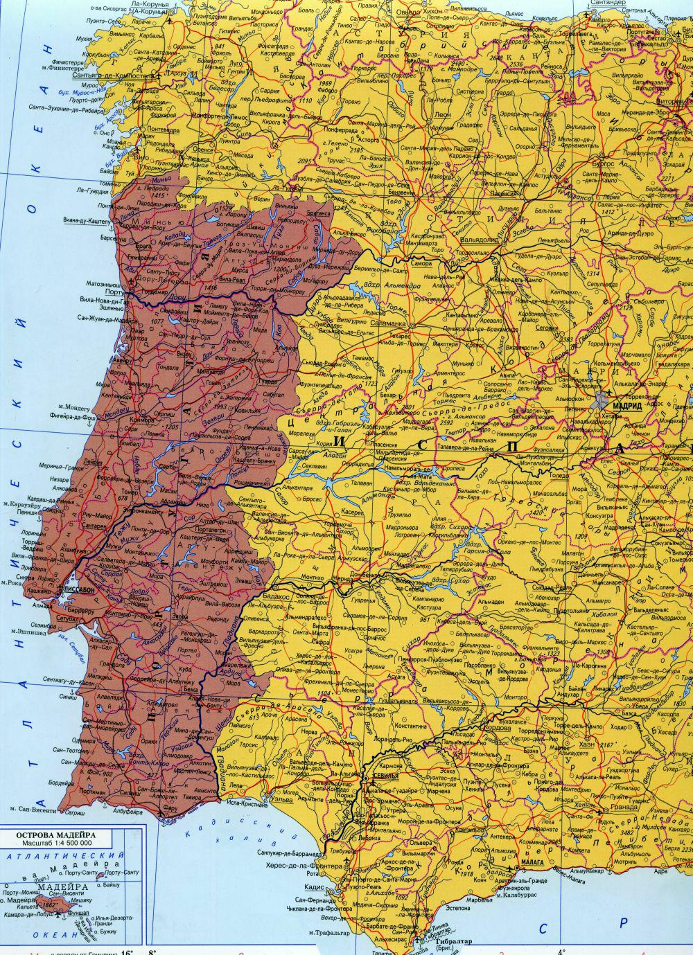 Карта португалии подробная карта