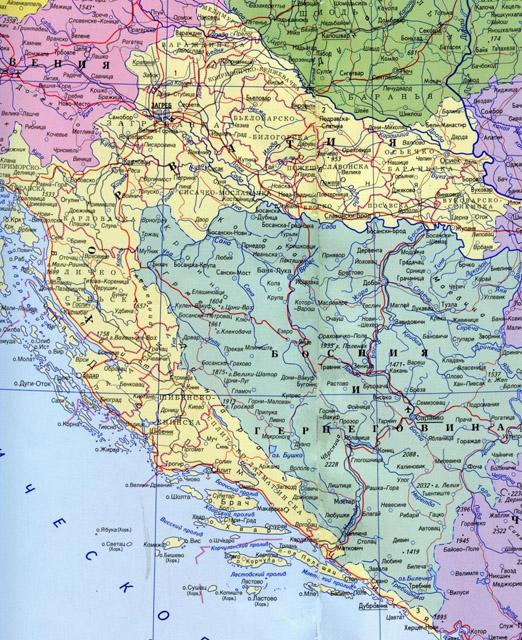 Подробная карта автодорог хорватии на