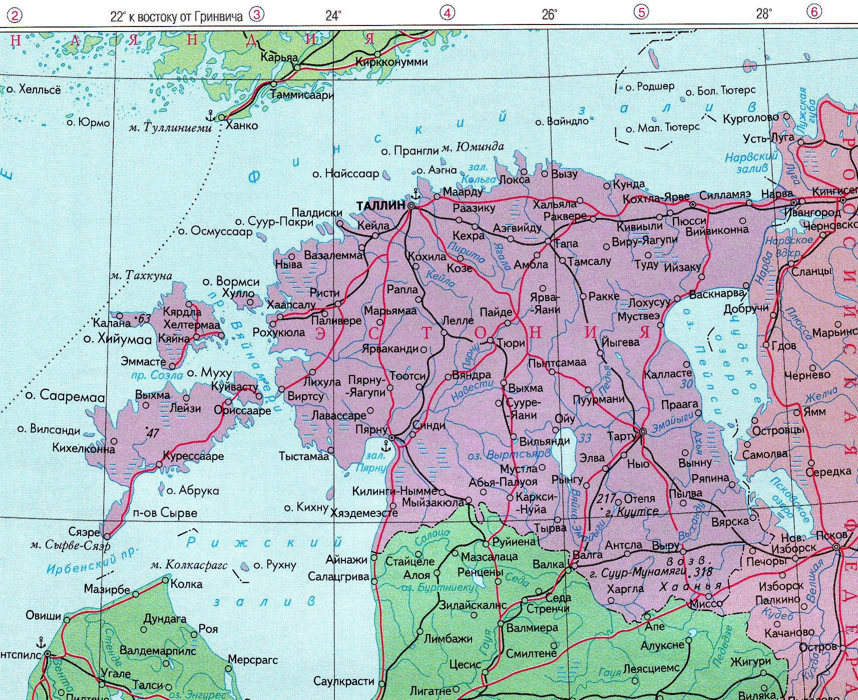 Подробная карта автодорог эстонии на