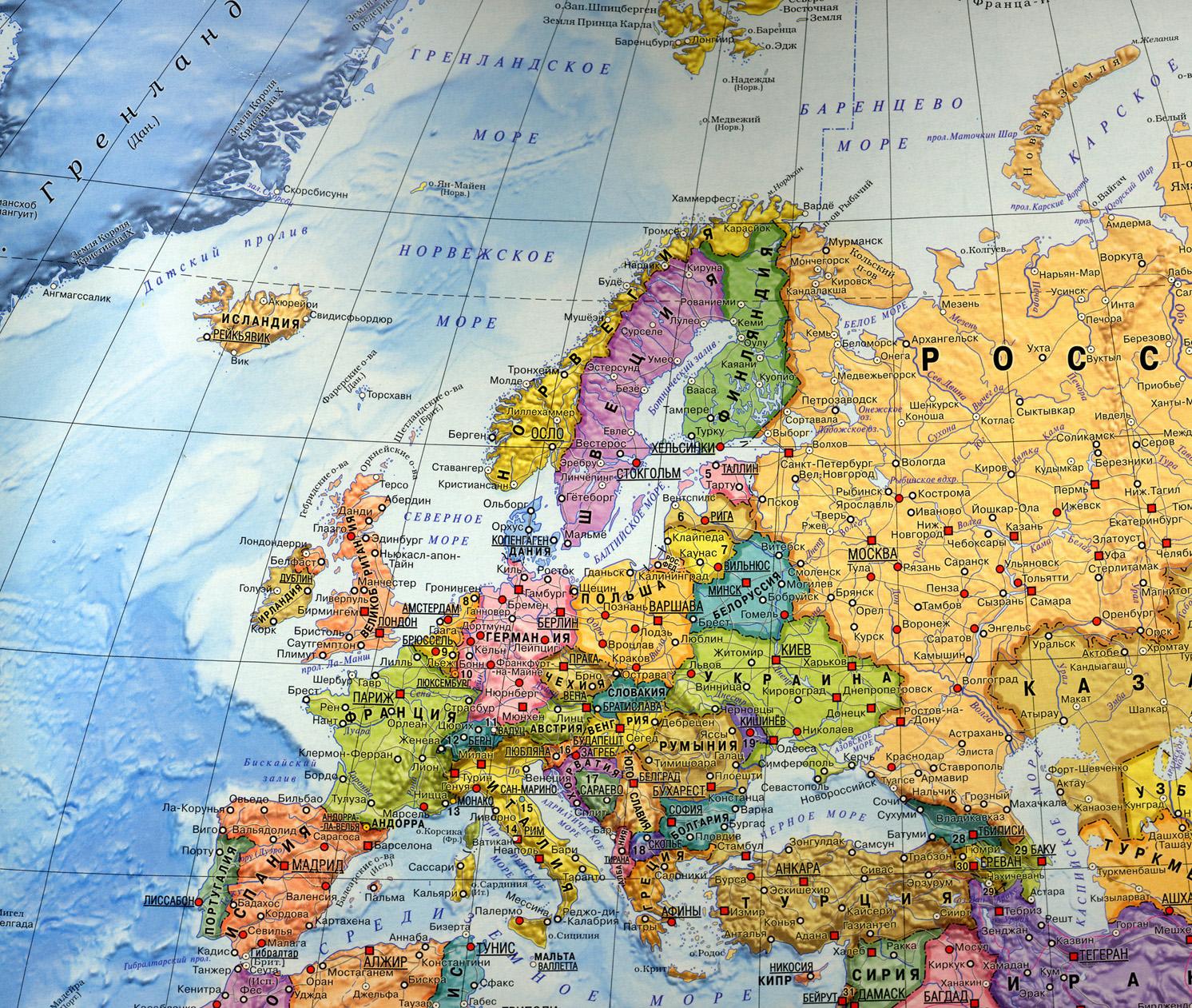Политическая карта европы подробная