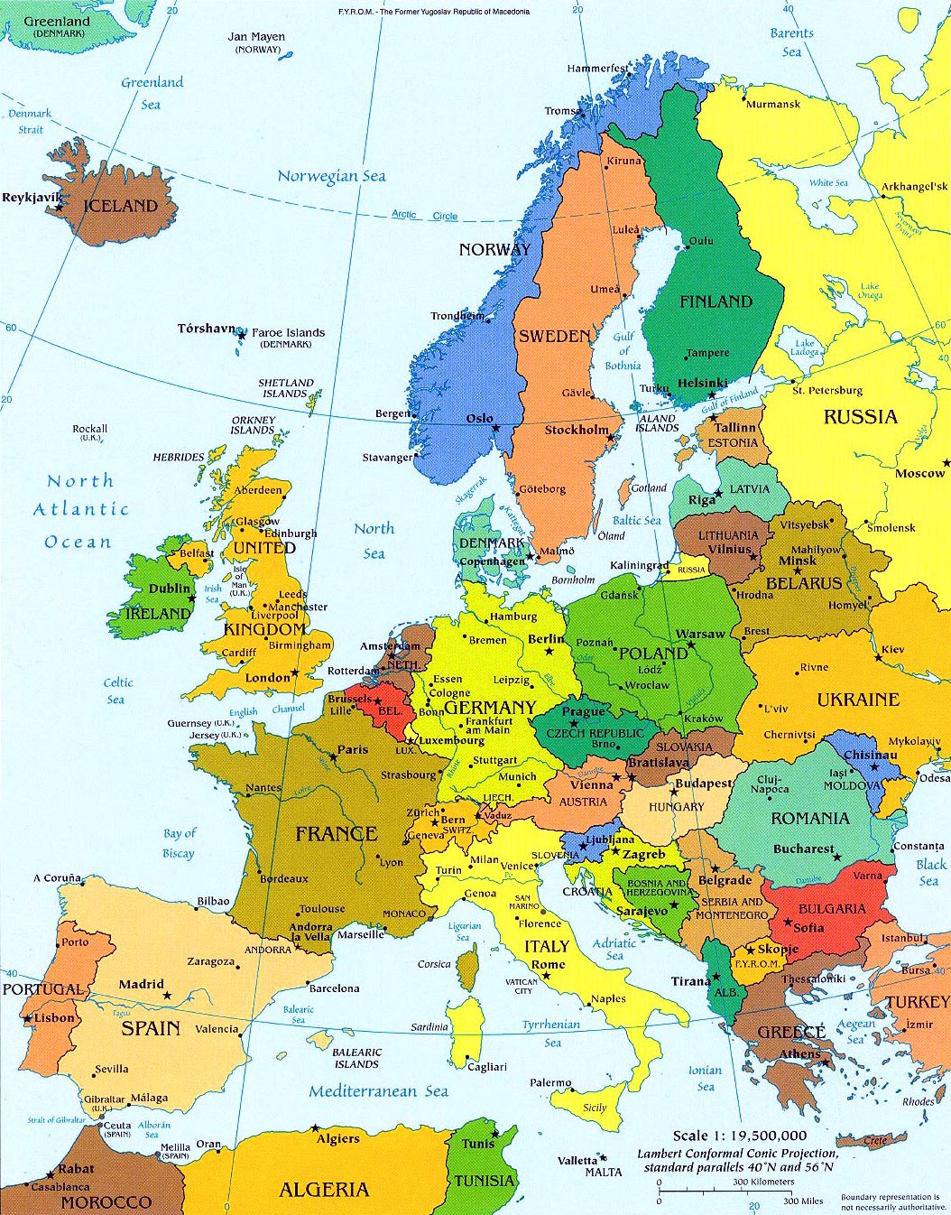 Подробная политическая карта европы