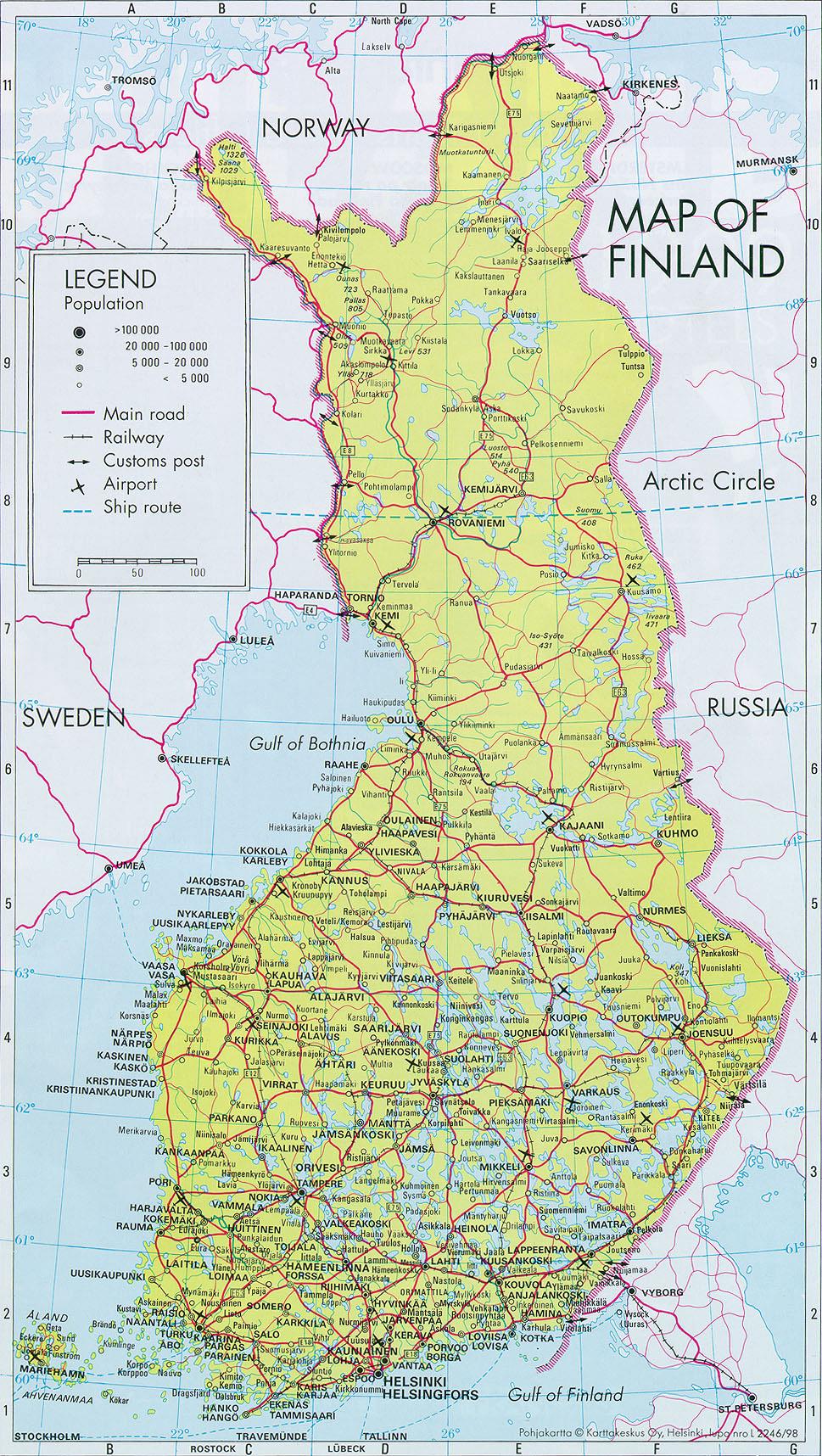 Автомобильная Карта Финляндии Скачать
