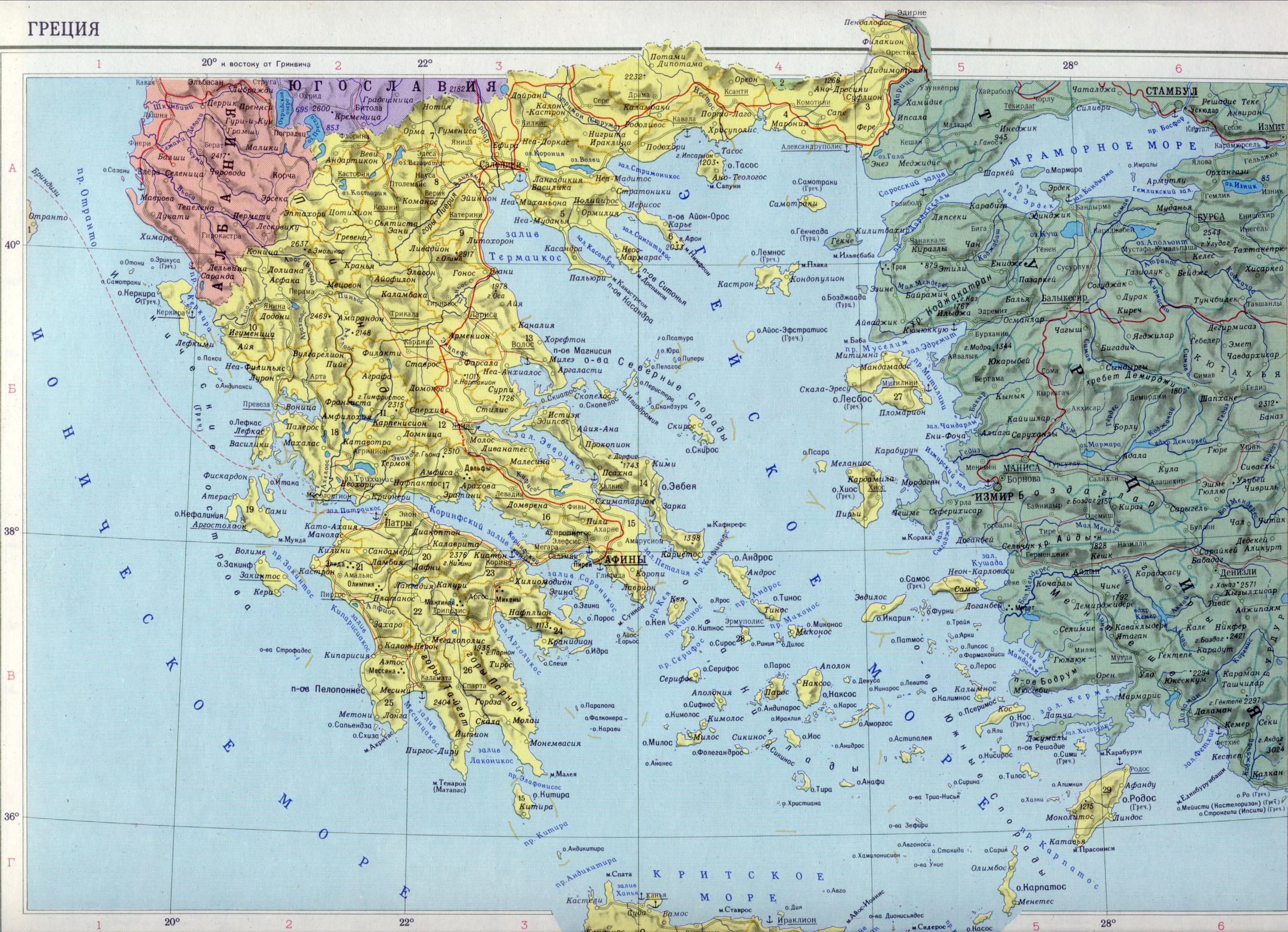 Греция карта греции подробная карта