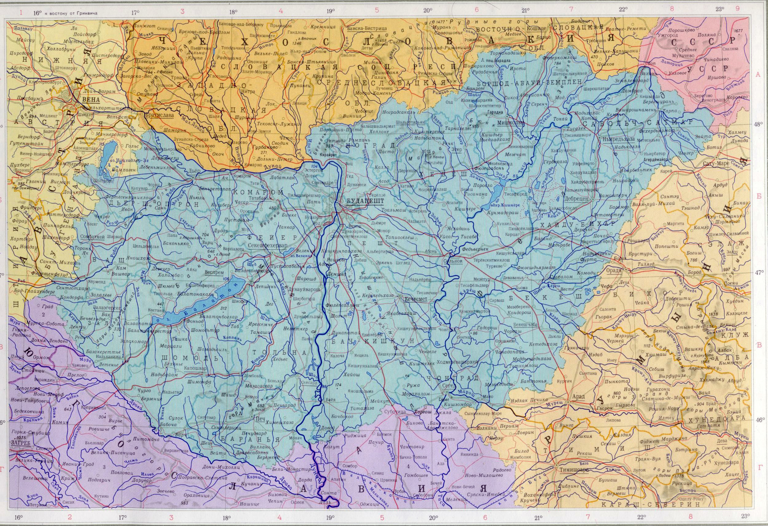Карта венгрии подробная карта