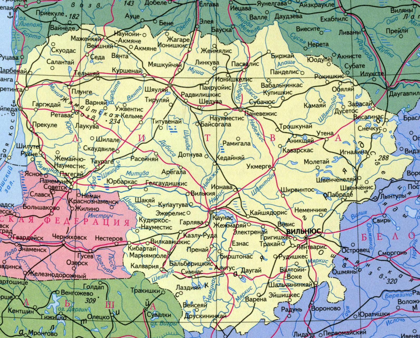Карта литвы подробная карта