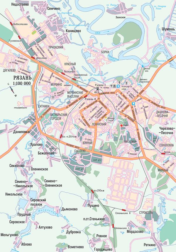 Карта автодорог г. Рязань