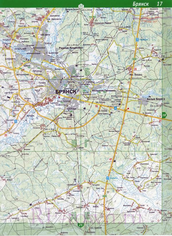 карта брянска и брянской области