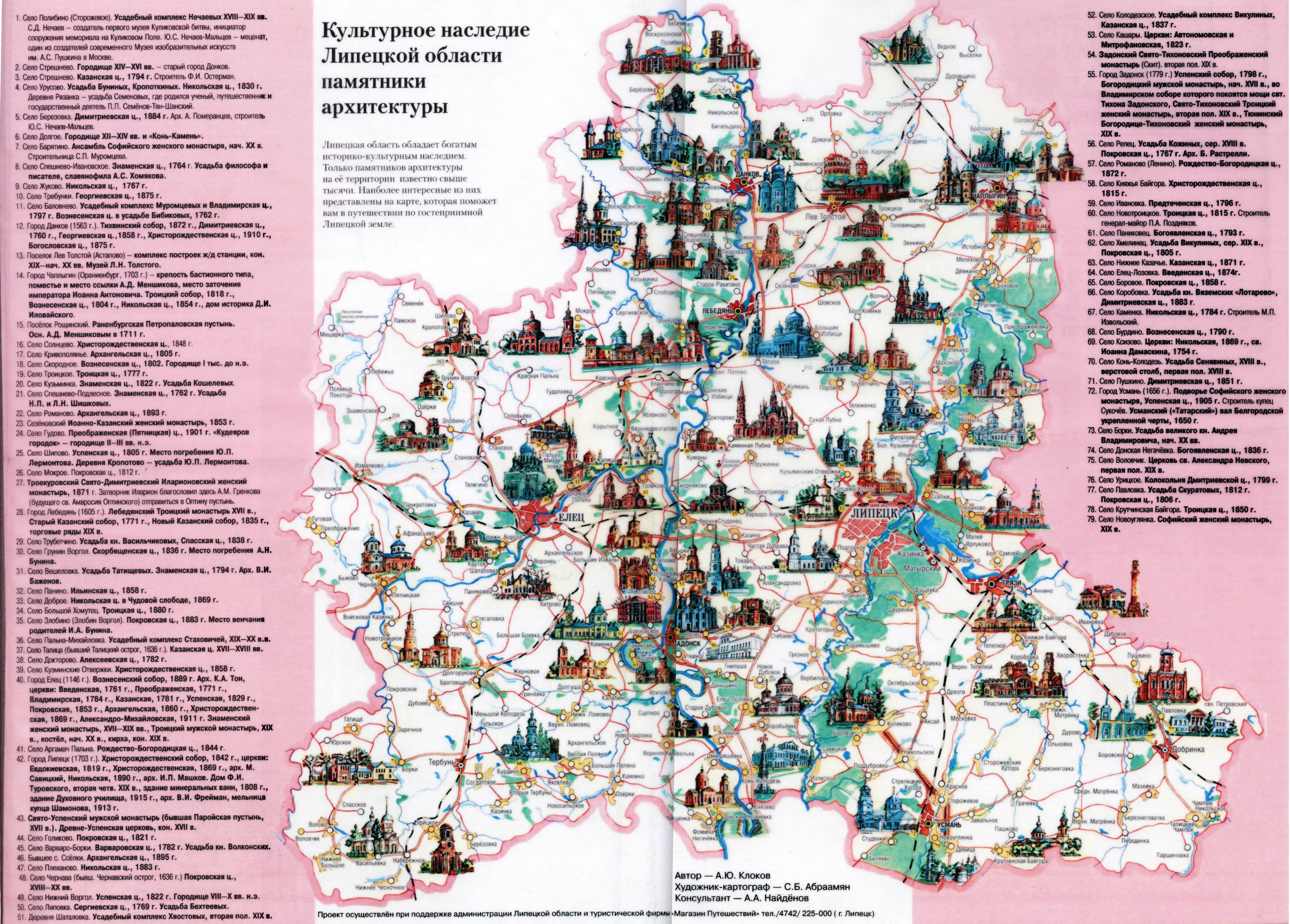 Туристическая карта рязани с достопримечательностями