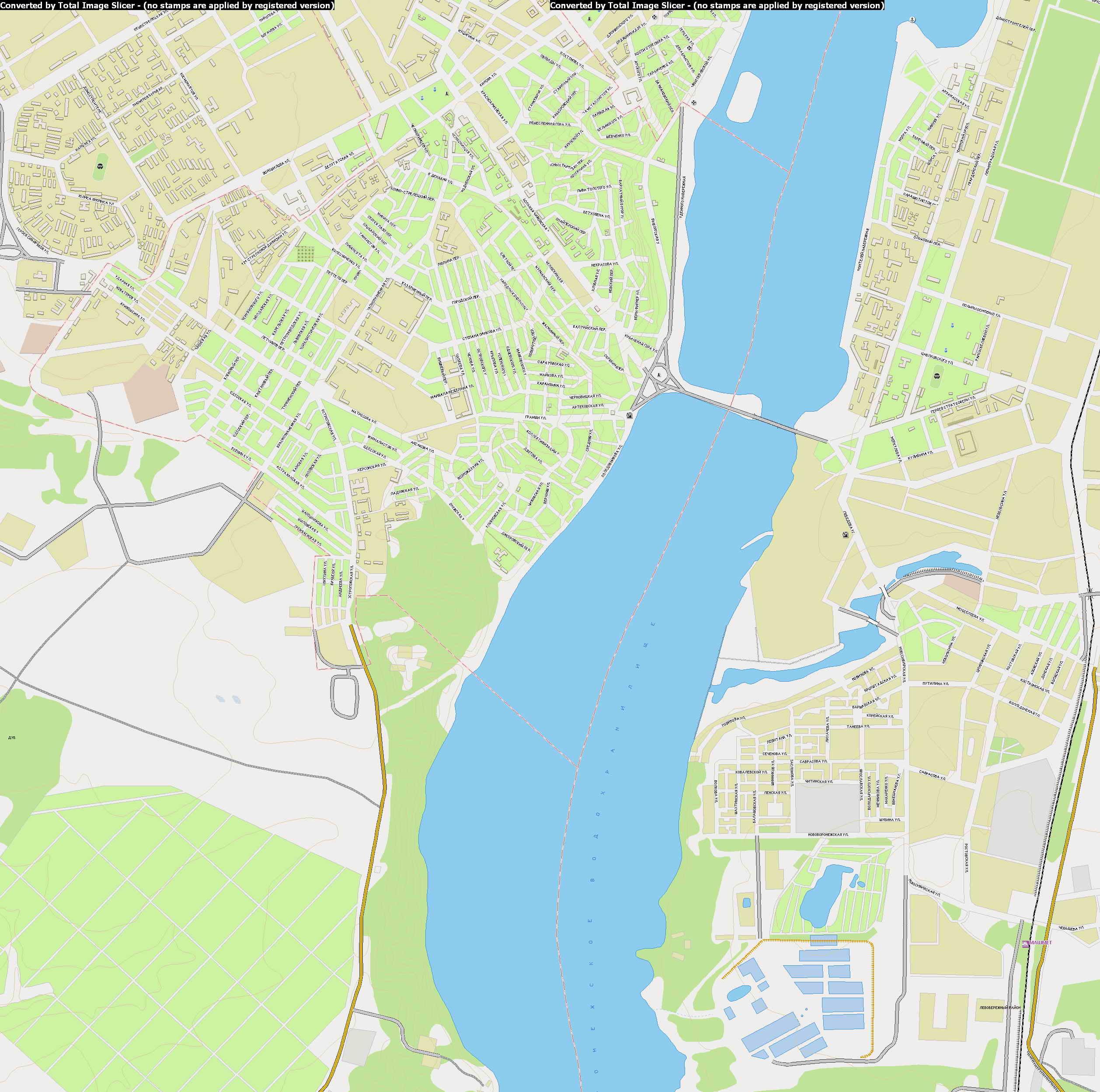 Карта г. Воронеж 1см = 135м. Карта автодорог, районов ...: http://raster-maps.com/?p=330