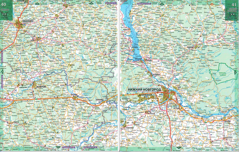 Карта автодорог Нижегородской области.  Подробная карта дорог - Нижегородская область (север) .