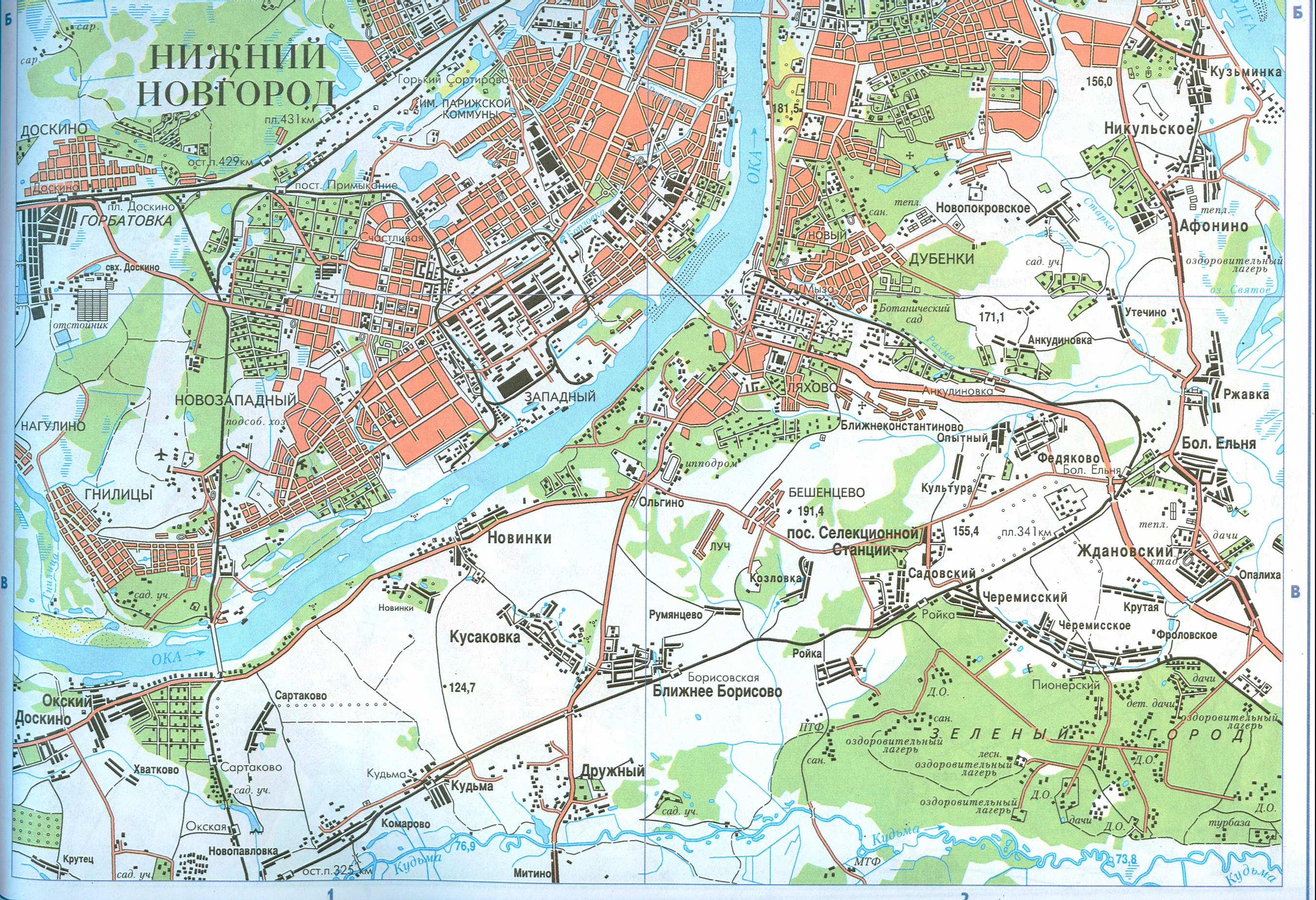 Подробная карта Нижнего Новгорода и его окрестностей (юг) .