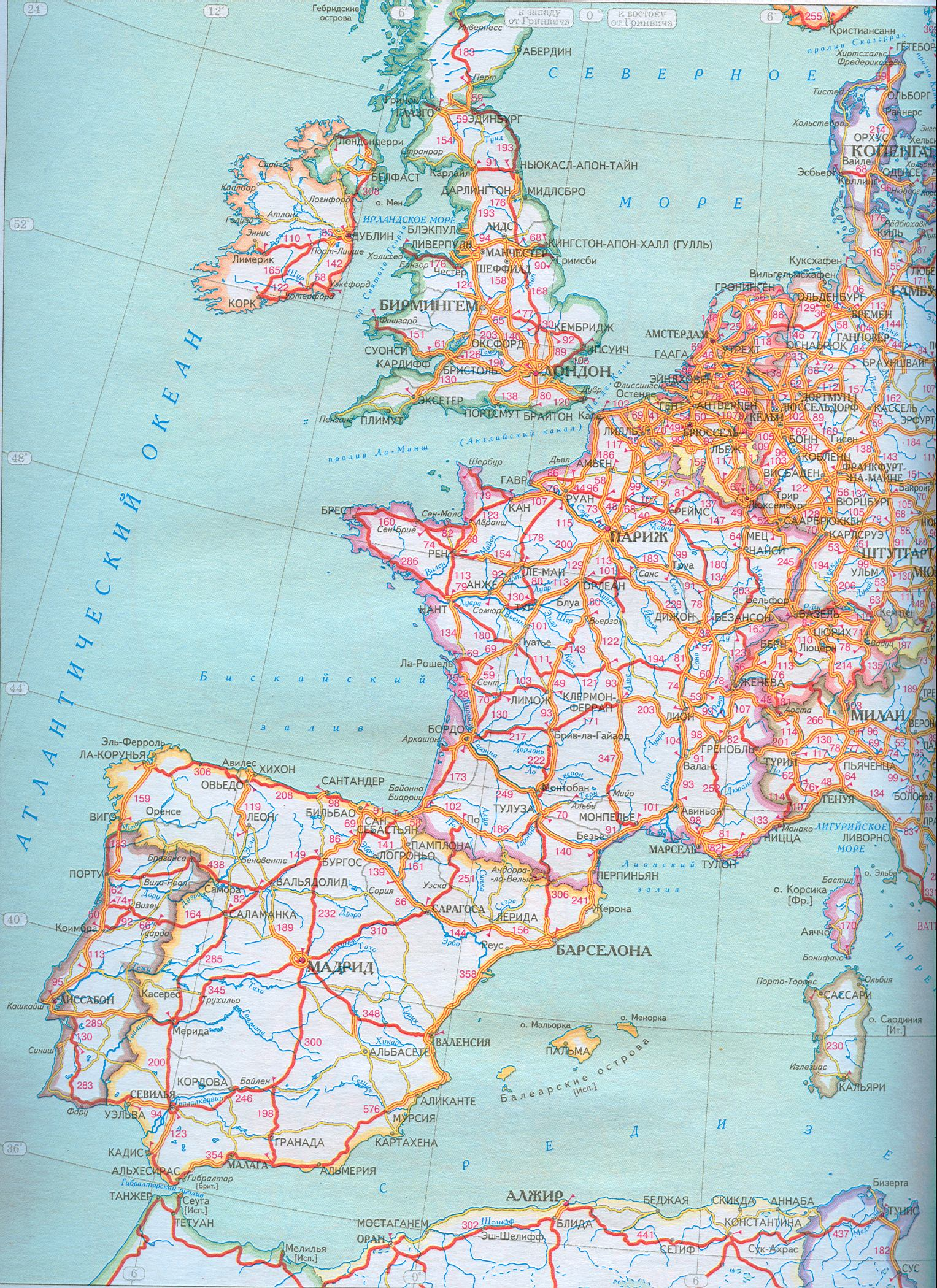 Карта автомобильных дорог европы скачать о