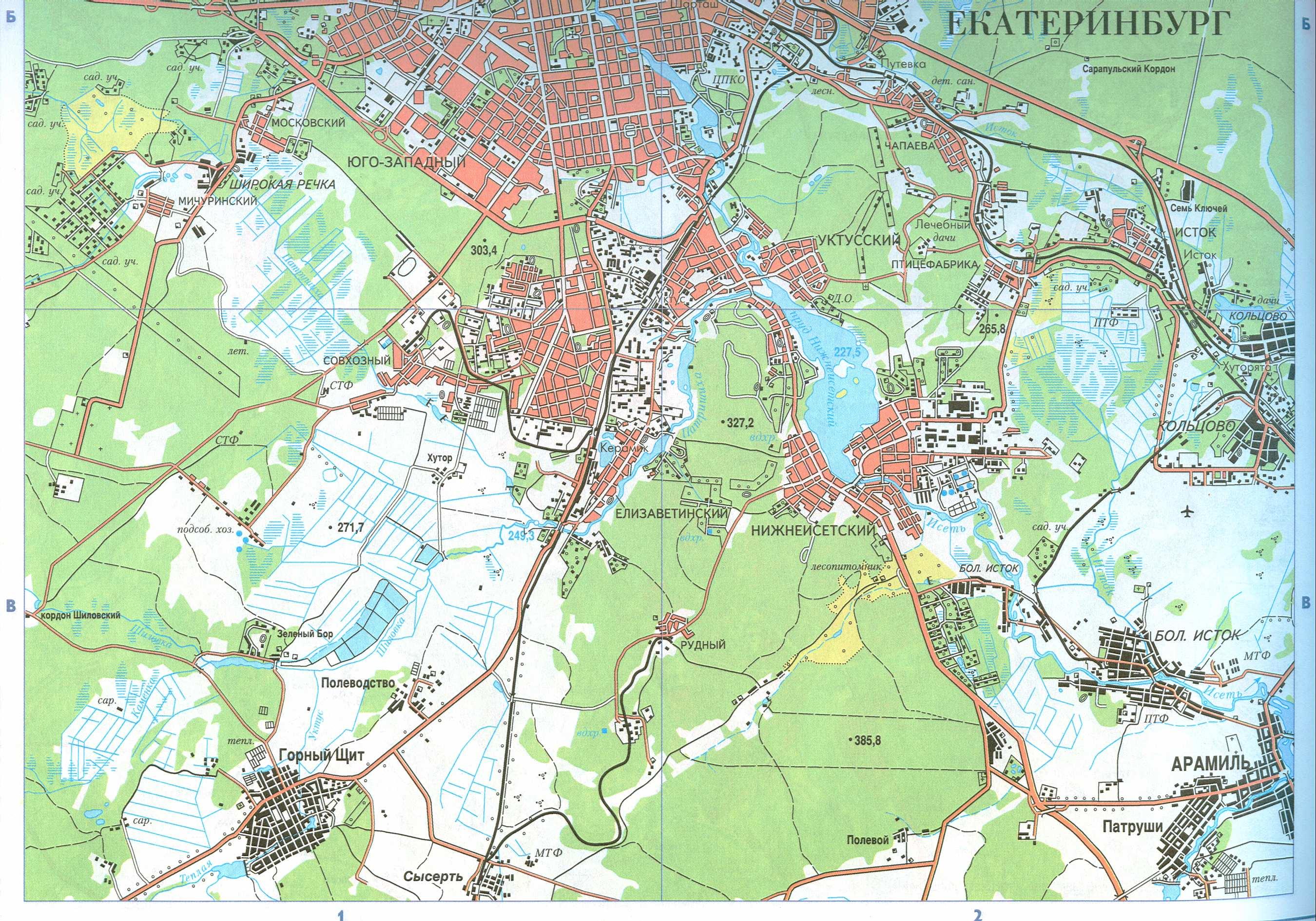 Подробная карта г.Екатеринбург и окрестностей.  Бесплатно скачать подробную карту города Екатеринбурга.