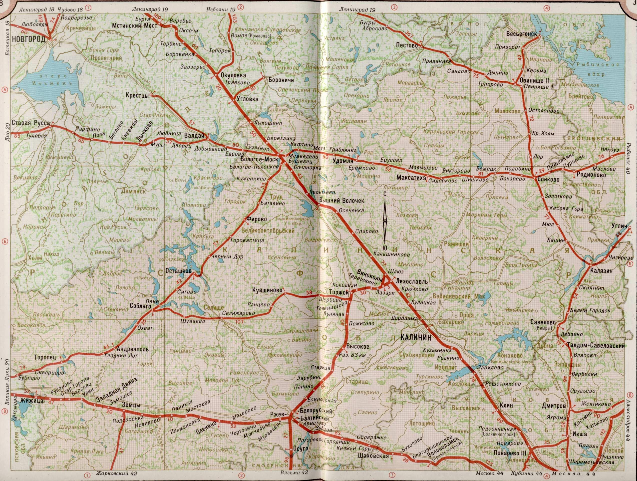 Карта железной дороги тверская область России.  Карта жд г.Тверь.
