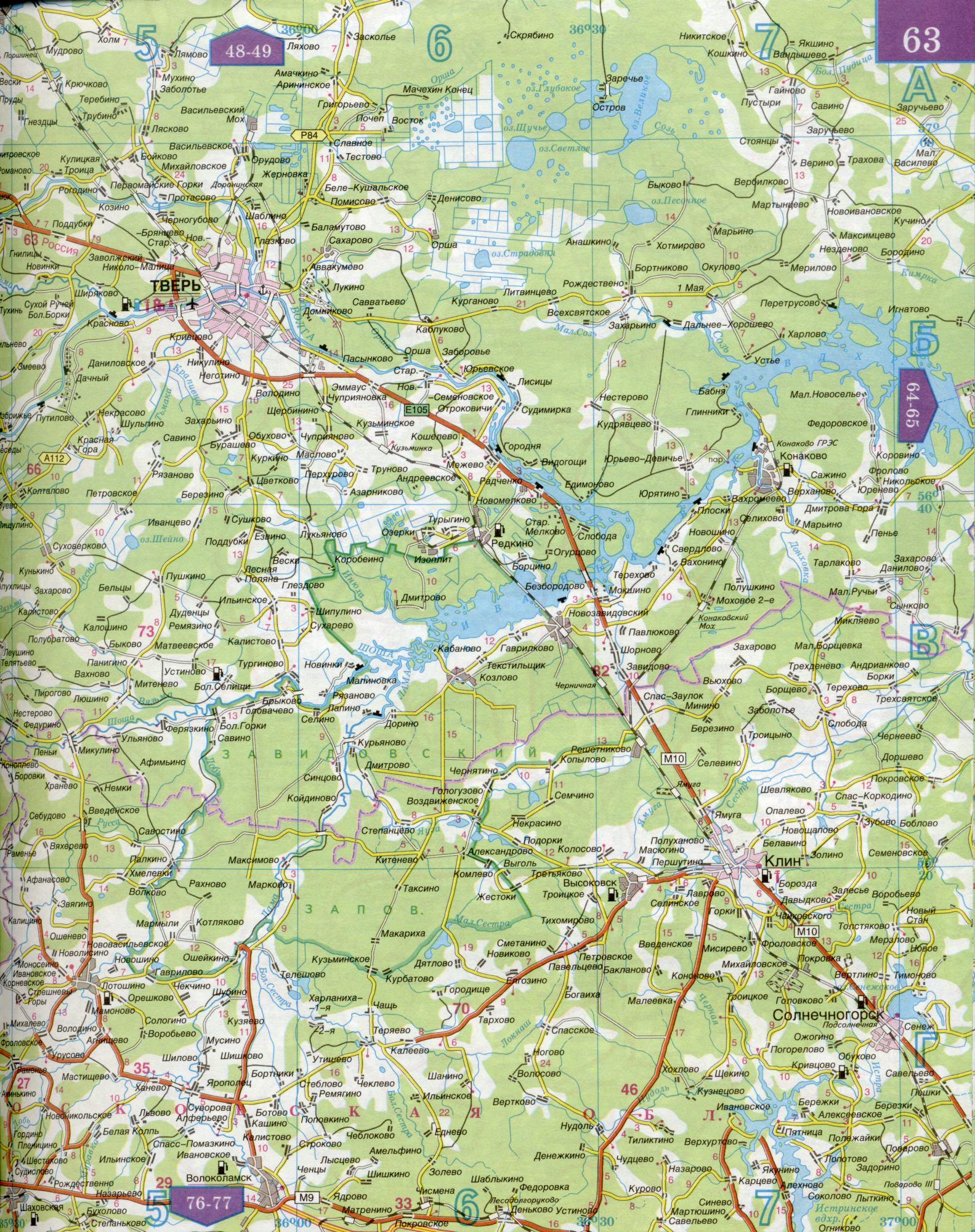 Карта автомобильных дорог твери