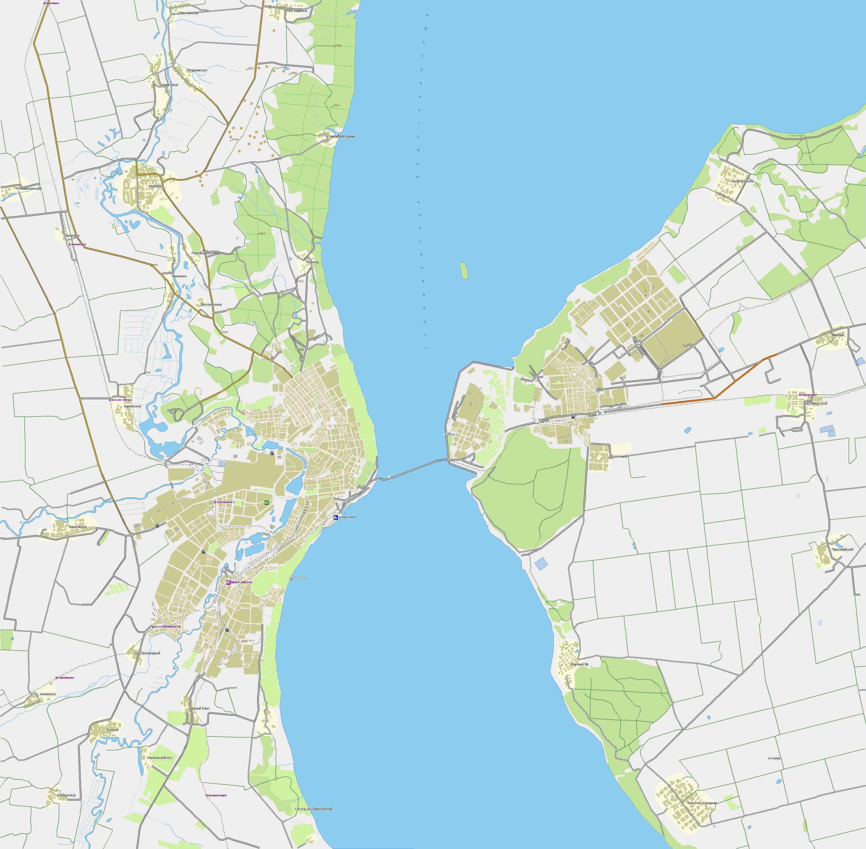 Подробная карта автомобильных дорог г. Ульяновска.  Карта дорог города Ульяновск и окрестностей.