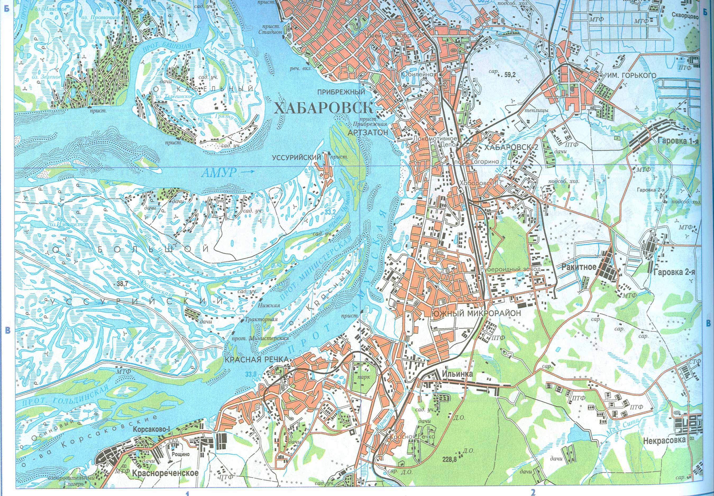 Карта Хабаровска. Подробная карта города Хабаровск 1см ...: http://www.raster-maps.com/map-of-russia-435/