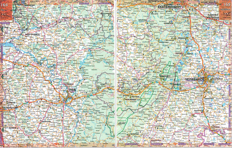 Карта автодорог Башкирской республики.  Карта дорог - Башкирская республика, Башкортостан (север) .