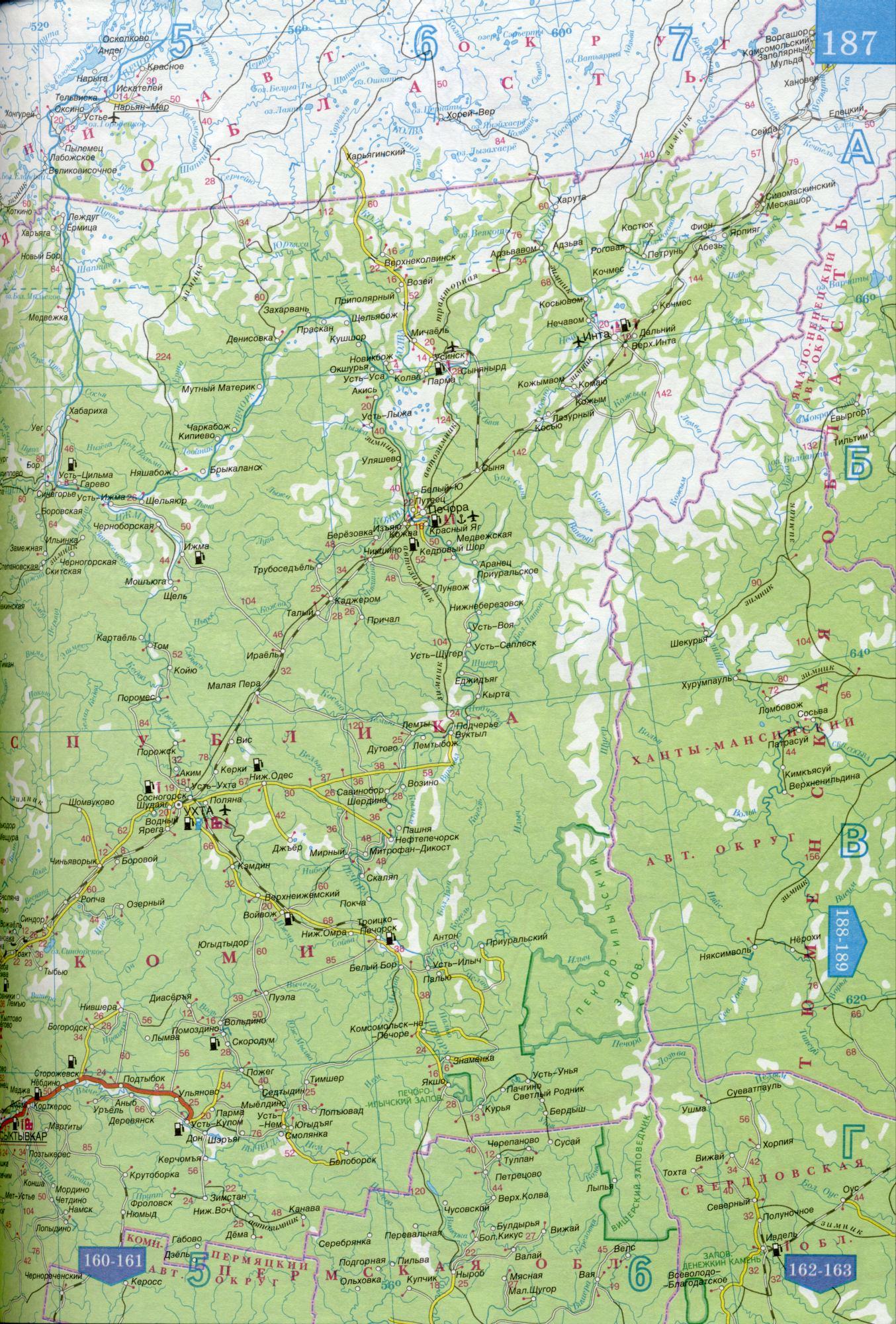Карта республики Коми. Карта автомобильных дорог ...: http://www.raster-maps.com/map-of-russia-498/