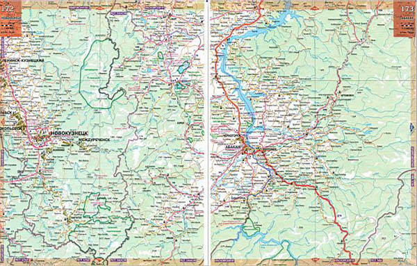 Атлас Сибири - карта дорог Хакасии.  Бесплатно скачать подробную карту дорог Хакасии.