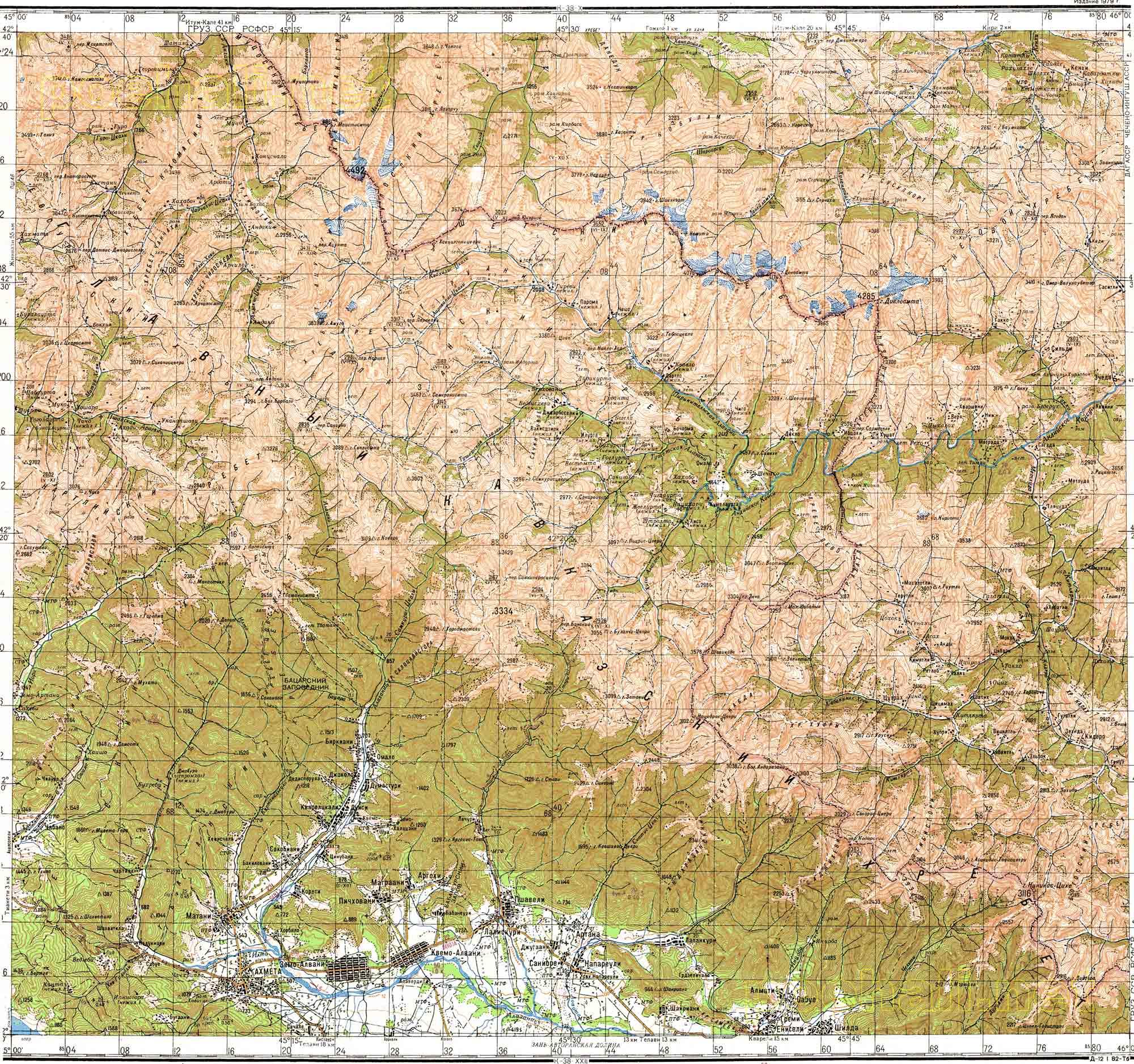 Карта грузии 1см 2км подробная