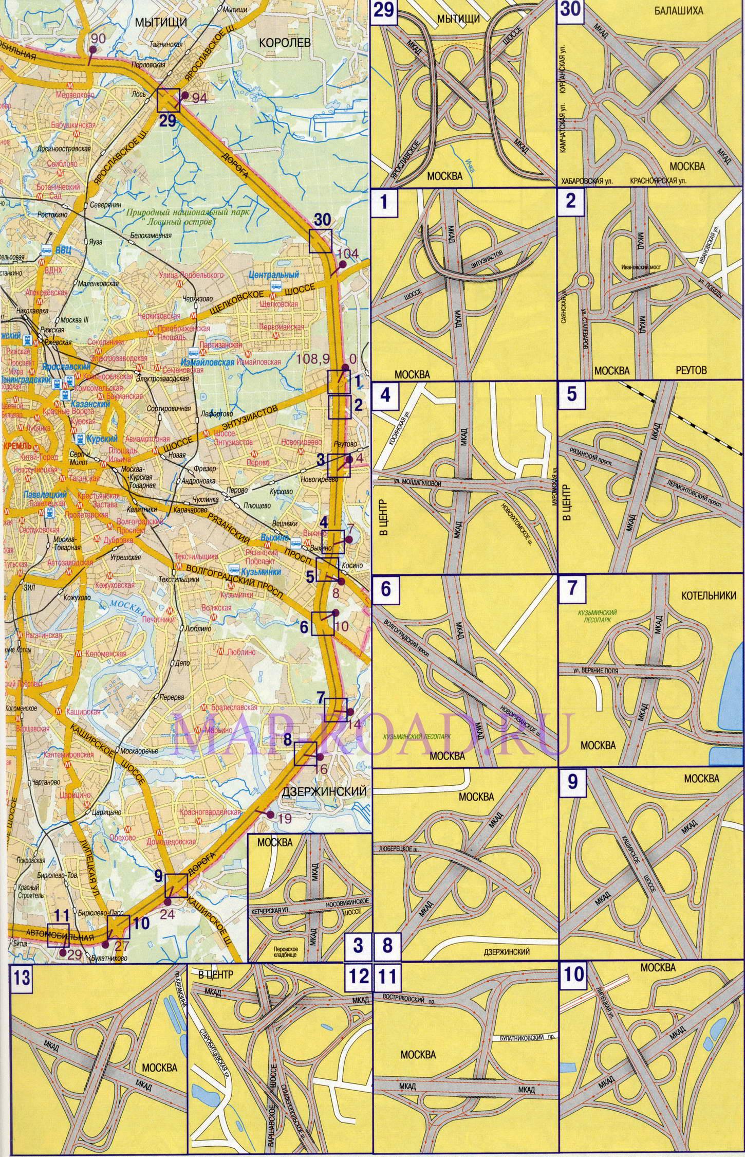 Карта схема Москвы с развязками на МКАД.