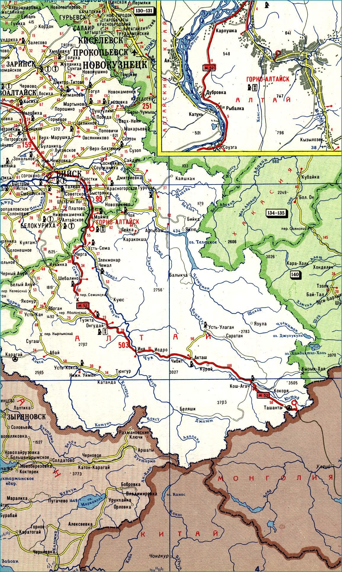 Карта республики Алтай со спутника Интерактивная