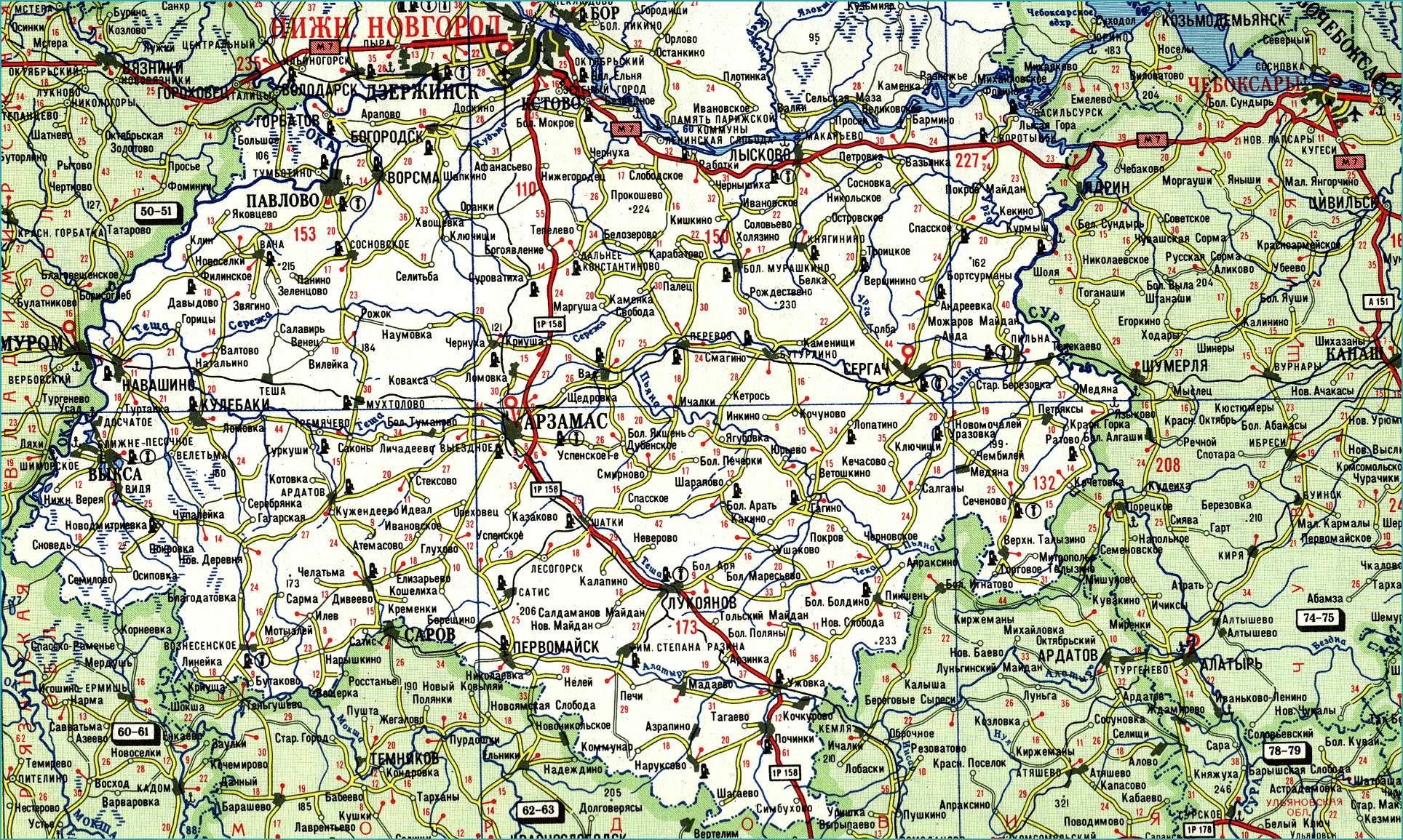 карта схема нижегородской области