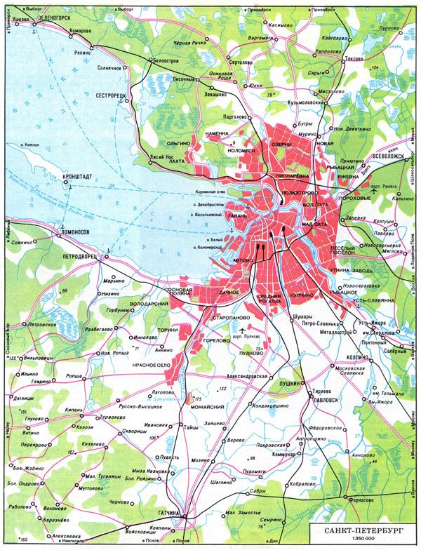 Карта автодорог Питера и