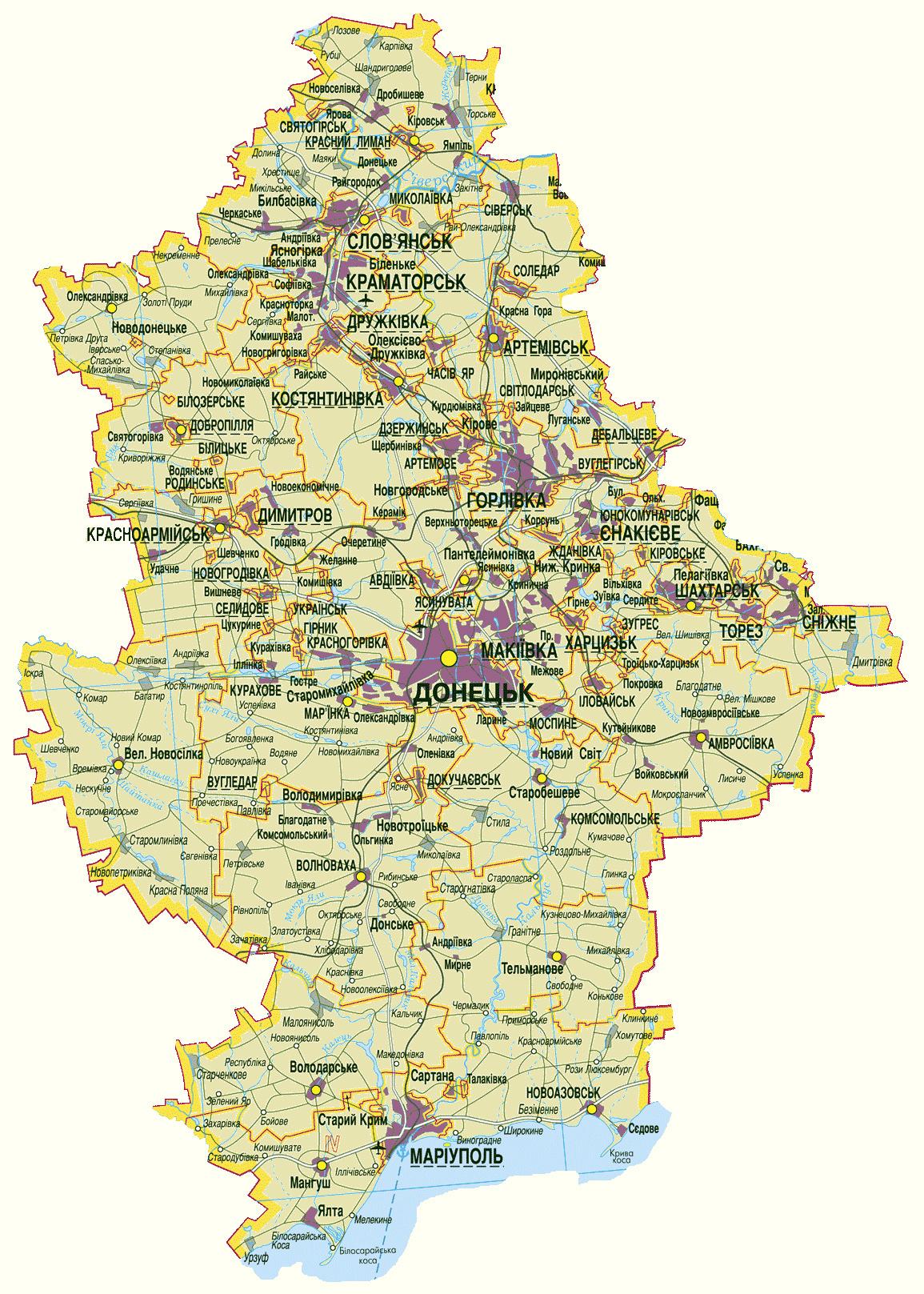 Донецкая область. Карта автомобильных дорог Донецкой ...: http://www.raster-maps.com/map-of-ukraine-31/
