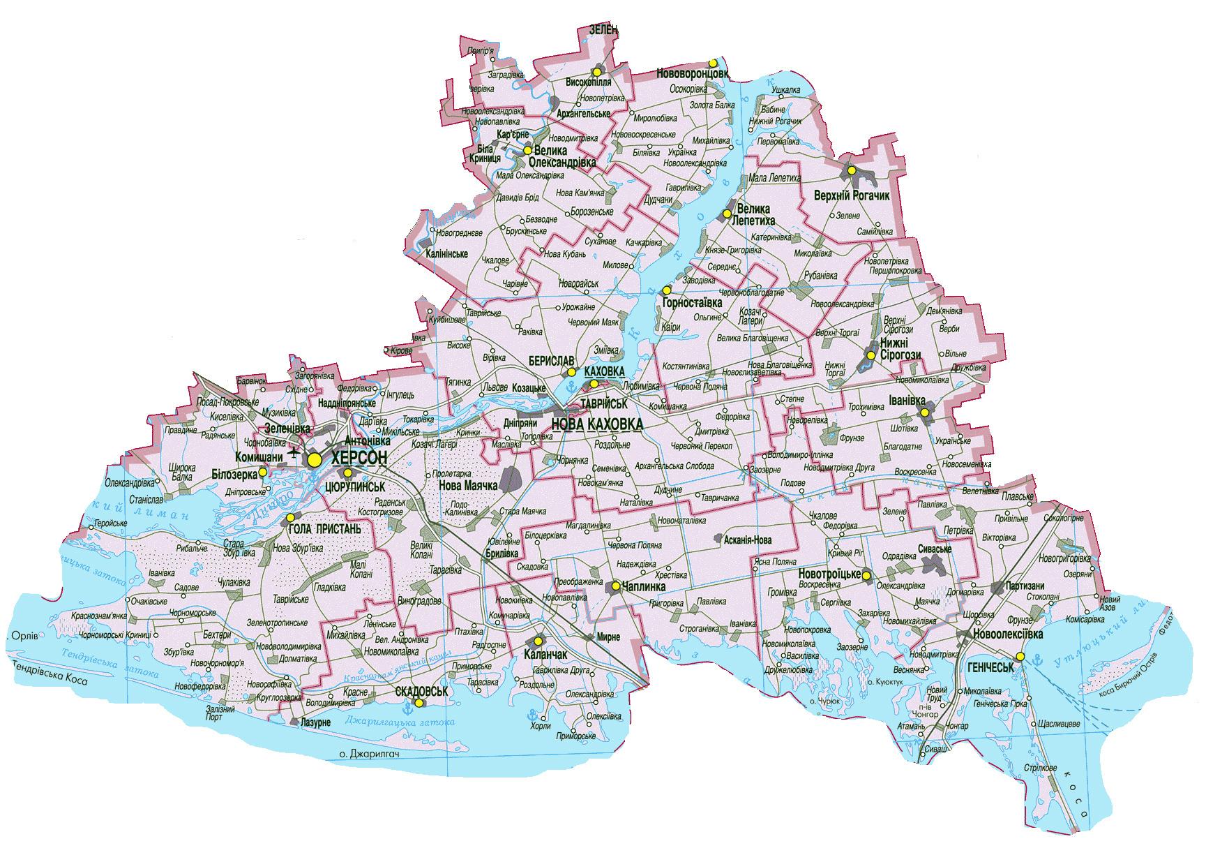 Херсонская область. Карта автомобильных дорог Херсонской ...: http://www.raster-maps.com/map-of-ukraine-63/