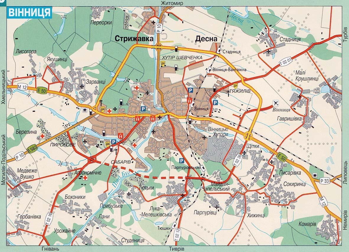 Винница. Карта Винницы. Карта автомобильных дорог Винницы ...: http://www.raster-maps.com/?p=1564