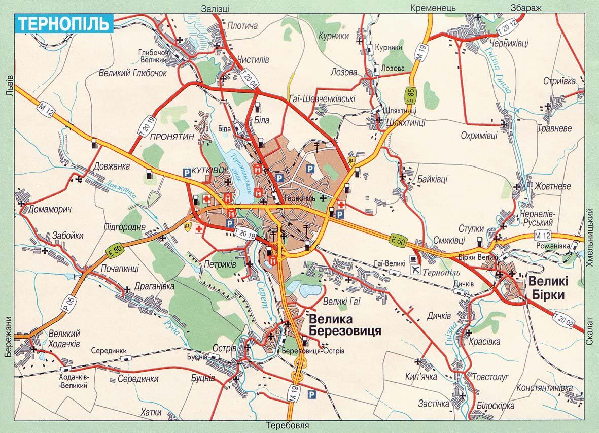Карта автомобильных дорог тернополя