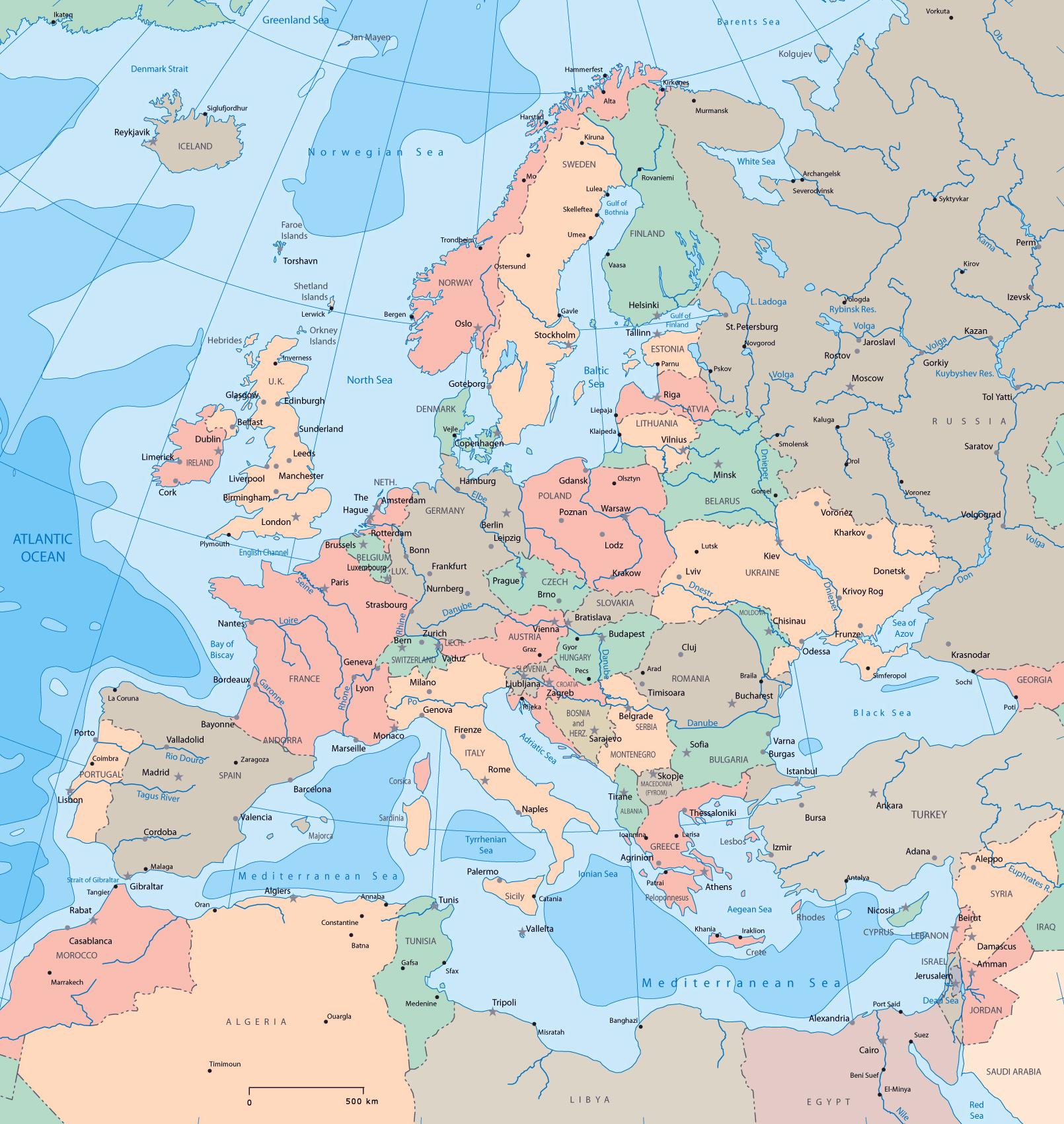 Карта европы все страны европы карта