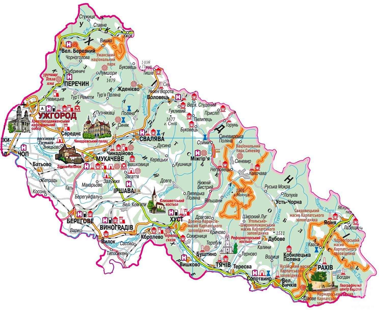 Turisticheskaya Karta Zakarpatskoj Oblasti Vse Dostoprimechatelnosti