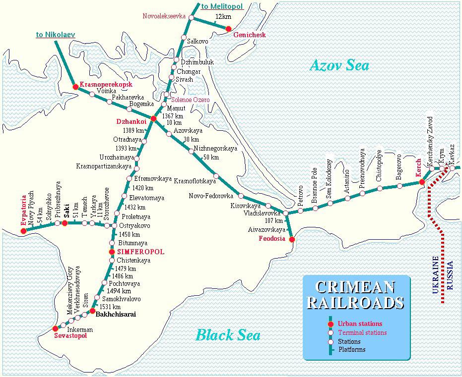 Для увеличения необходимо кликнуть на изображение!  Подробная карта железных дорог Крыма.  Все ЖД ветки, все ЖД...