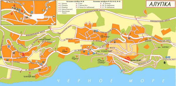 Подробная карта Ялты с улицами и номерами домов Схема ялты с достопримечательностями