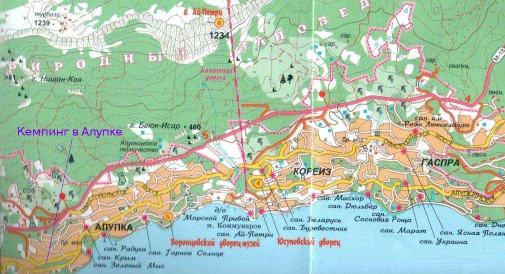 Подробная Карта Гаспры